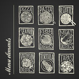 Chalkboard menu icons - Dishes. Vector hand drawn icons of menu positions with frames on blackboard background Royalty Free Stock Photos