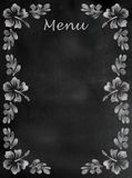 Chalkboard menu sign with hibiscus border. Vertical Royalty Free Stock Photos