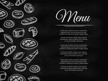 Chalkboard menu tło z piekarnia produktami Obraz Stock