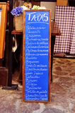 Chalkboard menu of tapas in Spain Royalty Free Stock Photos