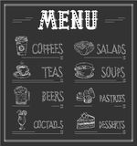 Chalkboard Menu Template of Food and Drinks. Monochrome Vector Illustration Stock Photos