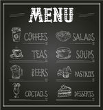 Chalkboard Menu Template of Food and Drinks Royalty Free Stock Photo