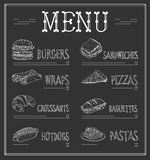 Chalkboard Menu Template. Vector Illustration Royalty Free Stock Photo
