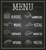 Chalkboard Menu Template. Vector Illustration Stock Photos