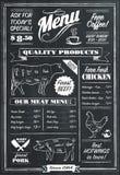Chalkboard menu. Vector menu sign in vintage chalkboard style vector illustration