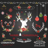 Chalkboard Merry Christmas Flowers. Deer, Rustic Christmas Wreath, Christmas Collections. The vector for Chalkboard Merry Christmas Flowers. Deer, Rustic Stock Photos