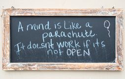 Open your mind. Chalkboard message, open your mind Royalty Free Stock Photography