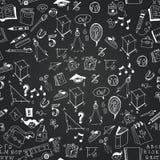 Chalkboard monochrome school icon pattern. Chalkboard monochrome school icon seamless pattern. White childish drawing on a black blackboard background Stock Images