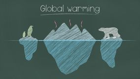Global warming sentence on chalkboard royalty free illustration