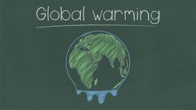 Melted earth on chalkboard. stock illustration