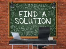 Chalkboard on the Office with Find a Solution Concept. 3D. Green Chalkboard on the Red Brick Wall in the Interior of a Modern Office with Hand Drawn Find a Royalty Free Stock Photo