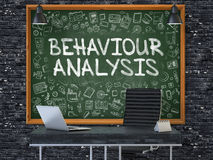 Chalkboard on the Office Wall with Behaviour Analysis Concept. 3D. Green Chalkboard on the Dark Brick Wall in the Interior of a Modern Office with Hand Drawn stock illustration