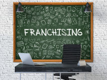 Chalkboard on the Office Wall with Franchising Concept. 3D. Stock Images