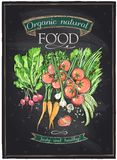Chalkboard organic natural food. Chalkboard organic natural food, vegetables background. Eps10 Royalty Free Stock Photography