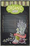 Chalkboard organic shop. Royalty Free Stock Photo