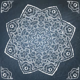 Chalkboard ornament. Symmetric filigree hand drawn ornament on chalkboard Stock Images