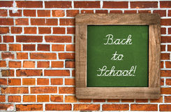 Chalkboard over red brick wall background Royalty Free Stock Images
