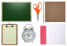 Chalkboard, Paper, Scissors, Pencil and Corkboard Isolated Stock Photography