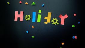 Chalkboard paper sticker holiday text nobody. Studio stock video footage