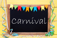 Chalkboard With Party Decoration, Text Carnival Royalty Free Stock Photos