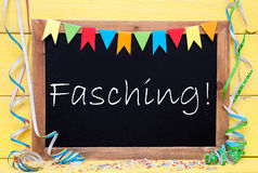 Chalkboard With Party Decoration, Text Fasching Means Carnival Royalty Free Stock Image