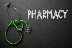 Chalkboard with Pharmacy Concept. 3D Illustration. Stock Photography