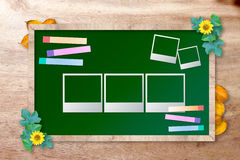 Chalkboard with photo frame Royalty Free Stock Image