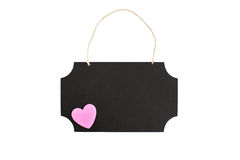 Chalkboard with pink heart and twine hanger Royalty Free Stock Photos