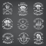 Chalkboard pirata Śmiertelni logowie Obraz Stock