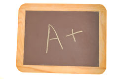 Chalkboard with an A plus written on it Stock Images