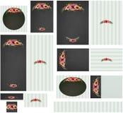 Chalkboard poppies border and stripes wedding invitation set 1 Royalty Free Stock Photography