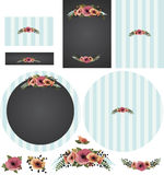 Chalkboard poppies with striped backing in cyan invitation set 2 Royalty Free Stock Images