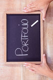 Chalkboard with portfolio text Royalty Free Stock Photography