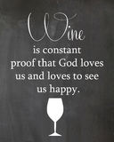 Chalkboard Poster About Wine Drinking. Chalkboard poster Wine is constant proof that god loves us and loves to see us happy Stock Photos