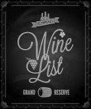 Chalkboard - ramowy wino menu Zdjęcie Stock