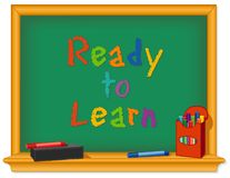 Chalkboard, Ready to Learn, Box of Chalk, Eraser royalty free stock images