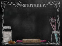 Chalkboard Recipe background with baking items stock photo