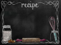 Chalkboard Recipe background with baking items. And vintage style framing Stock Images