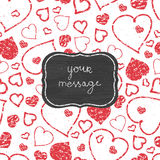 Chalkboard red art hearts frame seamless pattern Royalty Free Stock Photography