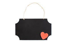 Chalkboard with red heart and twine hanger Royalty Free Stock Photography