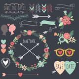Chalkboard Retro Wedding design elements Royalty Free Stock Images