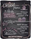 Chalkboard ręka rysujący deserowy menu Fotografia Royalty Free