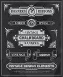 Chalkboard rocznika faborki i sztandar Fotografia Stock