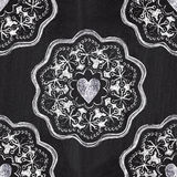 Chalkboard romantic seamless pattern with hearts Stock Images