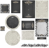 Chalkboard rose lattice and hammered vintage tin wedding invitation set 2 Stock Photos