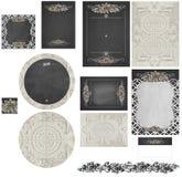 Chalkboard rose lattice and hammered vintage tin wedding invitation set 2 Stock Photos