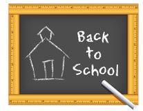 Chalkboard Ruler Frame, Chalk, Schoolhouse, Back to School. Chalkboard with wood ruler frame, chalk, schoolhouse, Back to School text. For education, back to vector illustration
