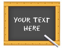 Chalkboard Ruler Frame, Chalk, Your Text Here. Chalkboard with wood ruler frame, chalk, YOUR TEXT HERE, copy space to customize with your text or art. For vector illustration