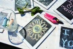 Chalkboard słoneczniki zdjęcie stock