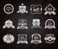 Chalkboard sales labels icons collection Stock Photography